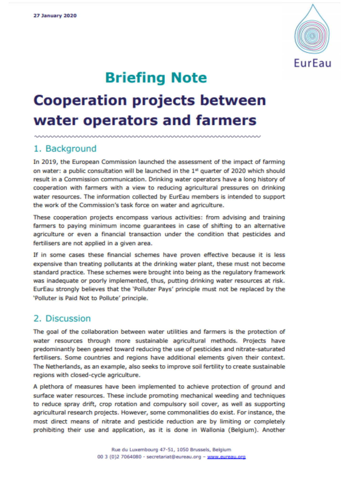 Briefing note on cooperation projects between water operators and farmers