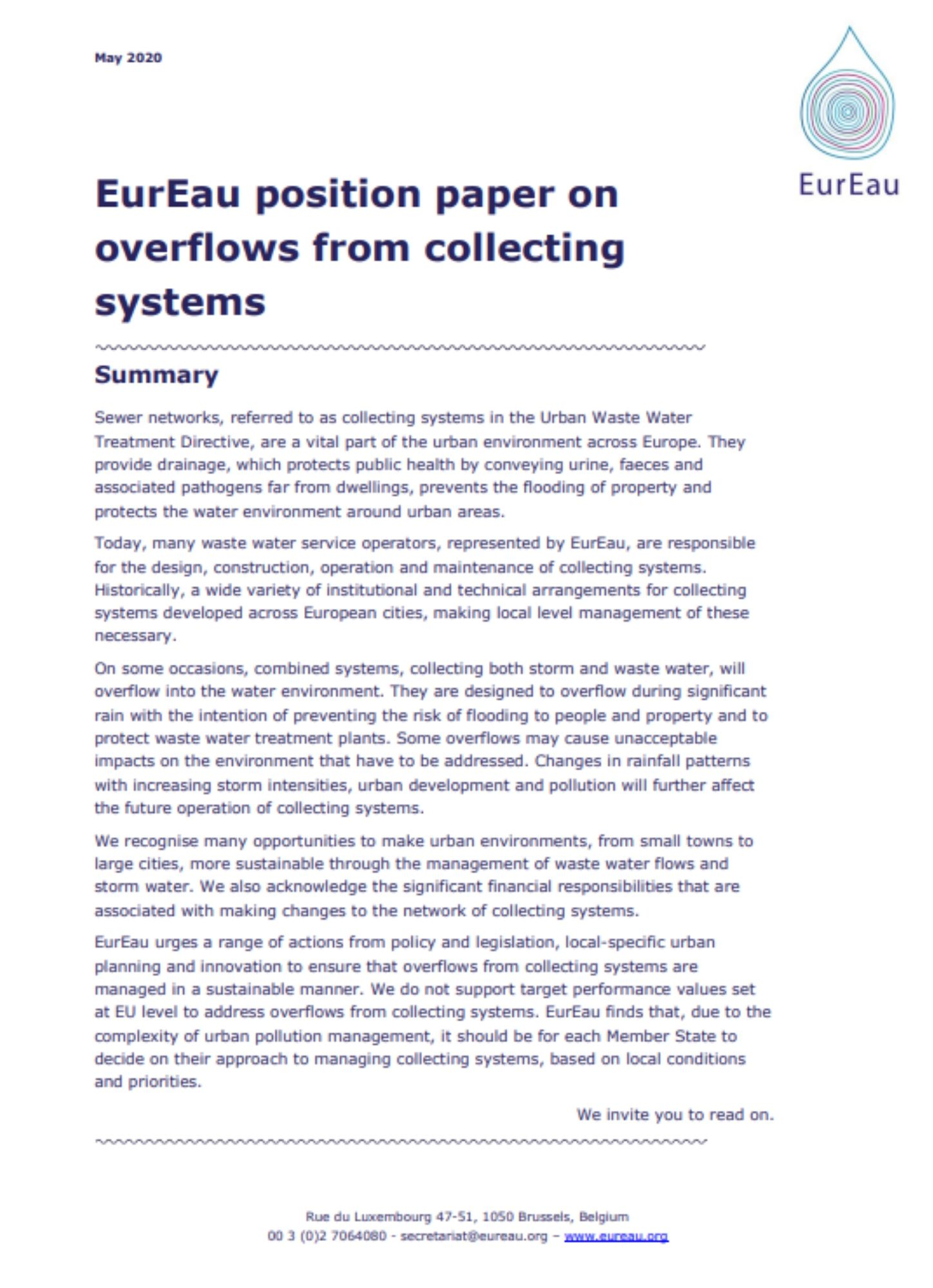 Position paper on overflows from collecting systems