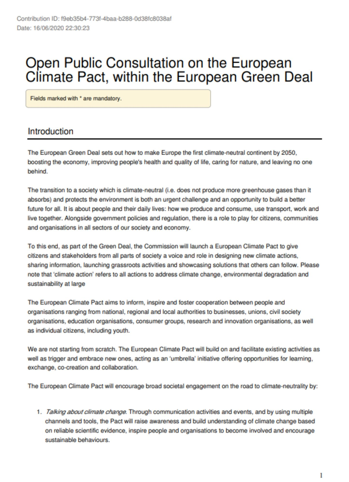 Consultation - European Climate Pact