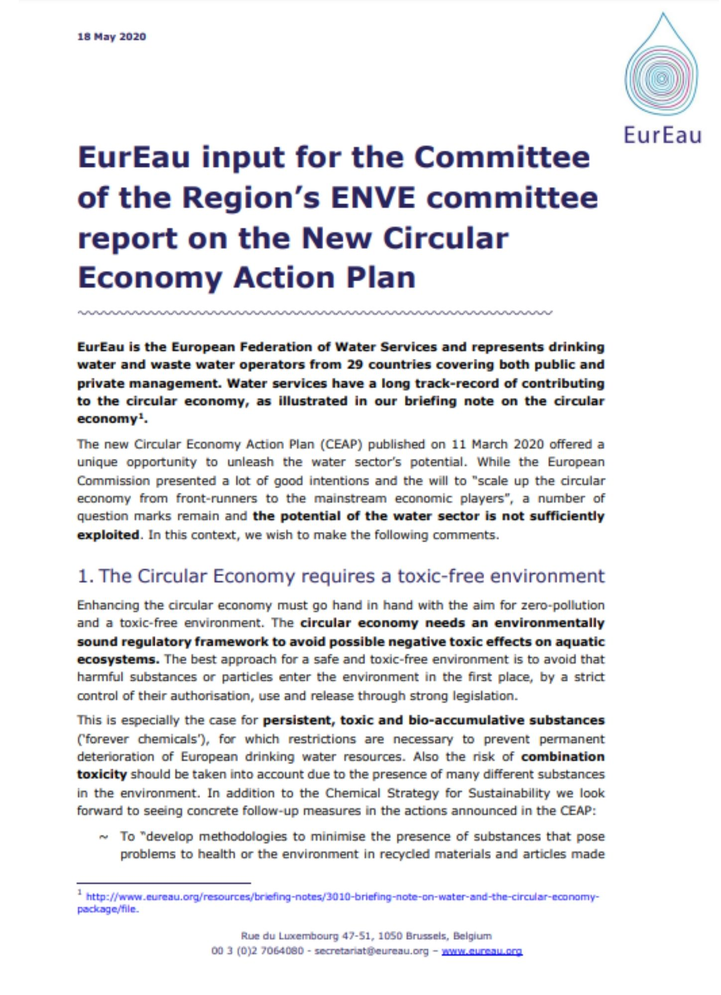 EurEau reaction to the Circular Economy Action Plan