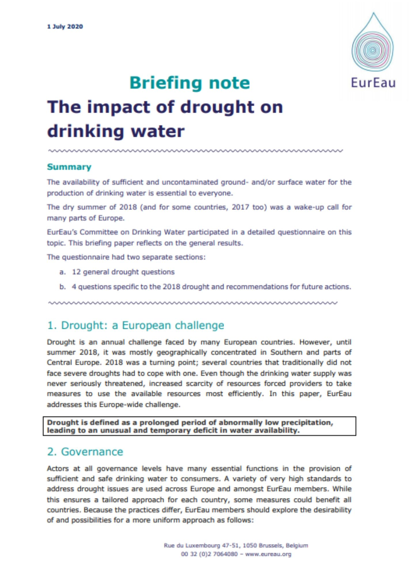 Briefing note on the impact of drought on drinking water