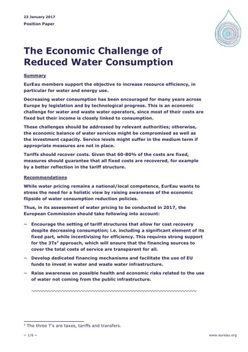 The Economic Challenge of Reduced Water Consumption