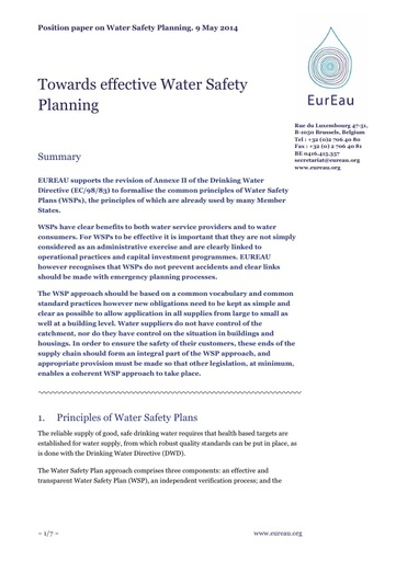 Towards effective Water Safety Planning