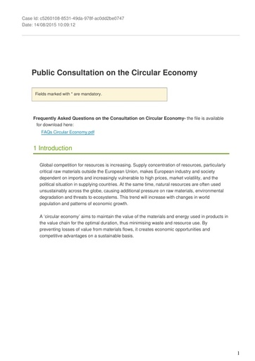 Consultation on the circular economy August2015