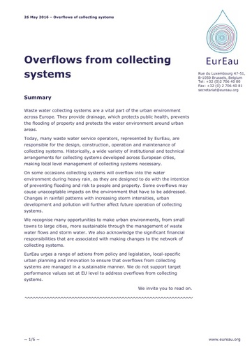Overflows from collecting systems   May 2016