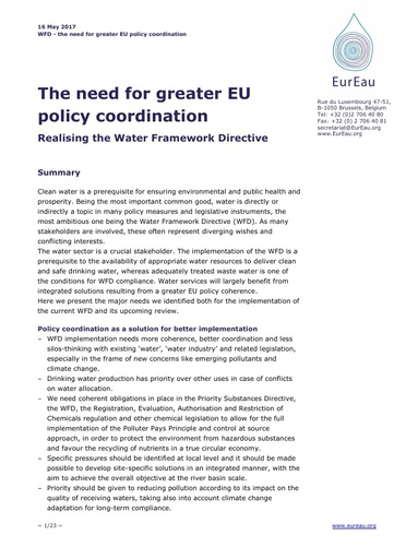 The Need for Greater EU policy coordination - Realising the WFD