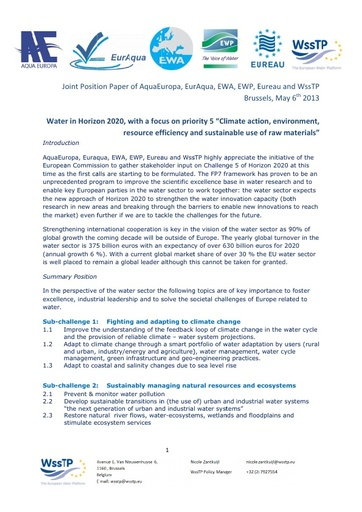 Joint Position Paper on Horizon2020 - Water Sector