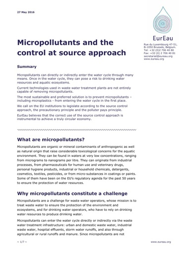 Micropollutants and the Control at Source Approach