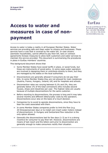 Access to water and measures in case of non payment