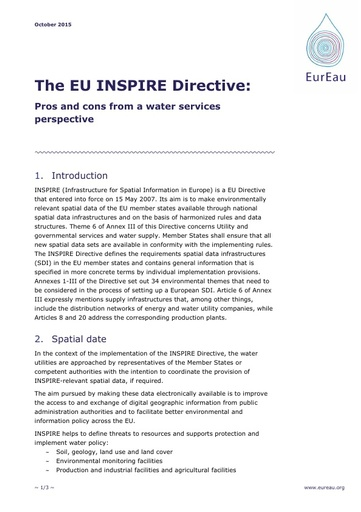 EU INSPIRE Directive - Pros and cons from a water services perspective