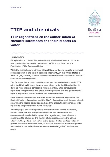 TTIP and chemicals   July 2015