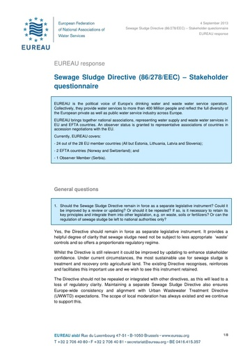 Response to Stakeholder questionnaire on Sewage Sludge Directive   September 2013