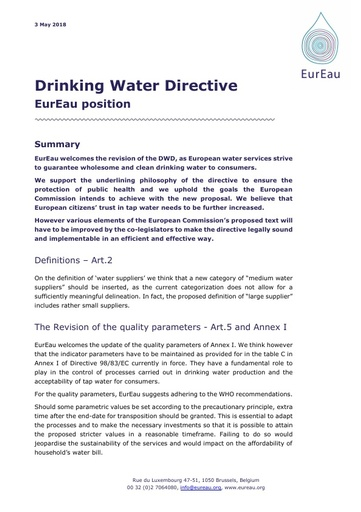 EurEau position on the Drinking Water Directive