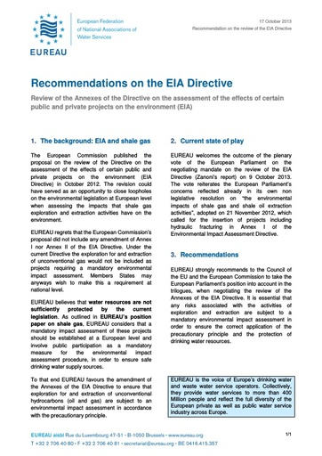 Recommendations on the EIA Directive   October 2013
