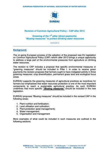 CAP 2013 Revision -  Blueing Measures to protect drinking water resources