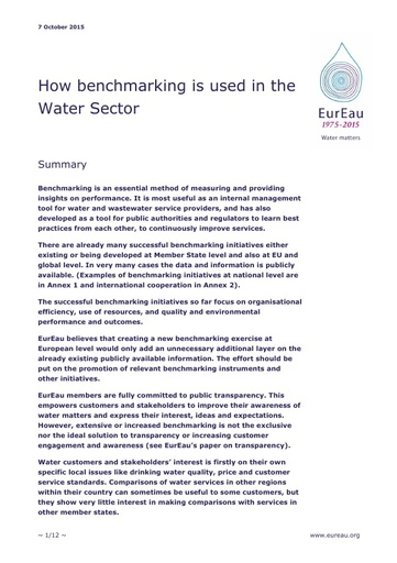 How Benchmarking is used in the Water Sector