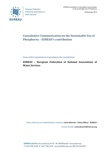Consultative Communication on the Sustainable Use of Phosphorus