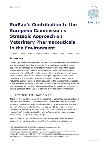 Contribution to the European Commissions Strategic Approach on Veterinary Pharmaceuticals in the Environment October2015