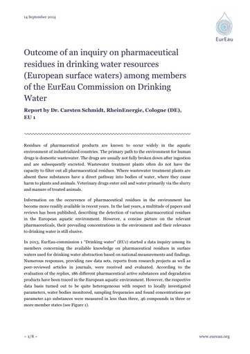 Pharmaceutical Residues in Drinking Water Resources among EurEau members