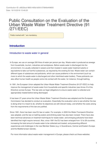 UWWTD Evaluation - consultation