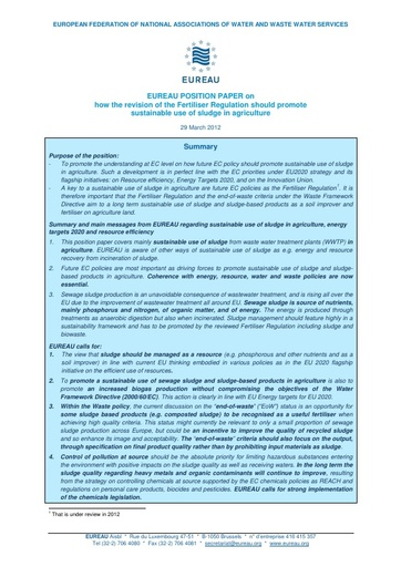 Revision of the Fertiliser Regulation - Sustainable use of Sewage Sludge in Agriculture
