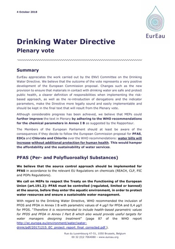 Drinking Water Directive Plenary vote EurEau explanatory memorandum