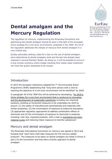Dental Amalgam and the Mercury Regulation