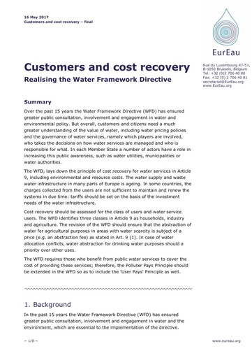 Customers and cost recovery - Realising the WFD