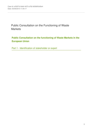 Consultation on the Functioning of Waste Markets September2015