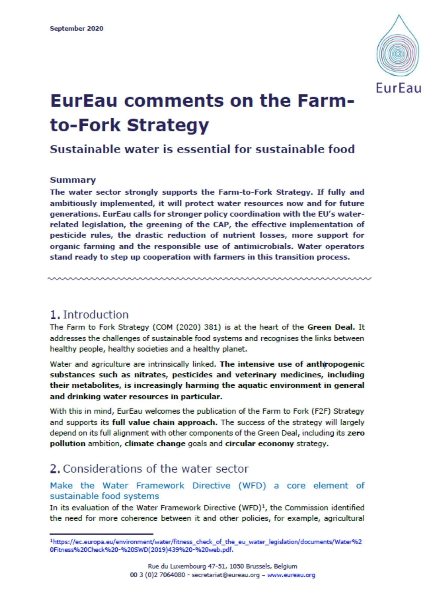 EurEau feedback on Farm to Fork Strategy