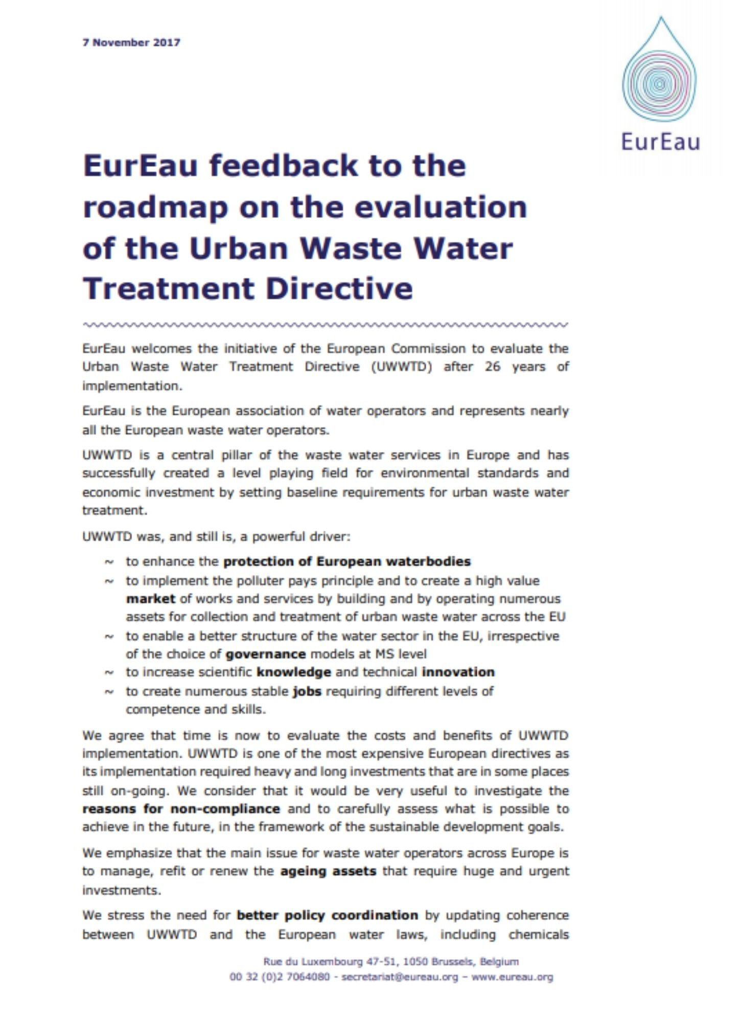 EurEau feedback on the evaluation of the UWWTD