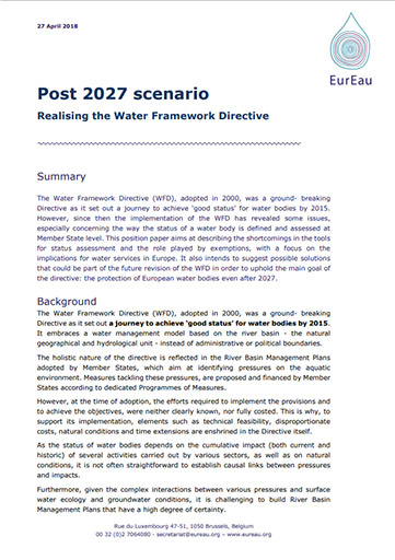 Position paper on the WFD Post 2027 Scenario