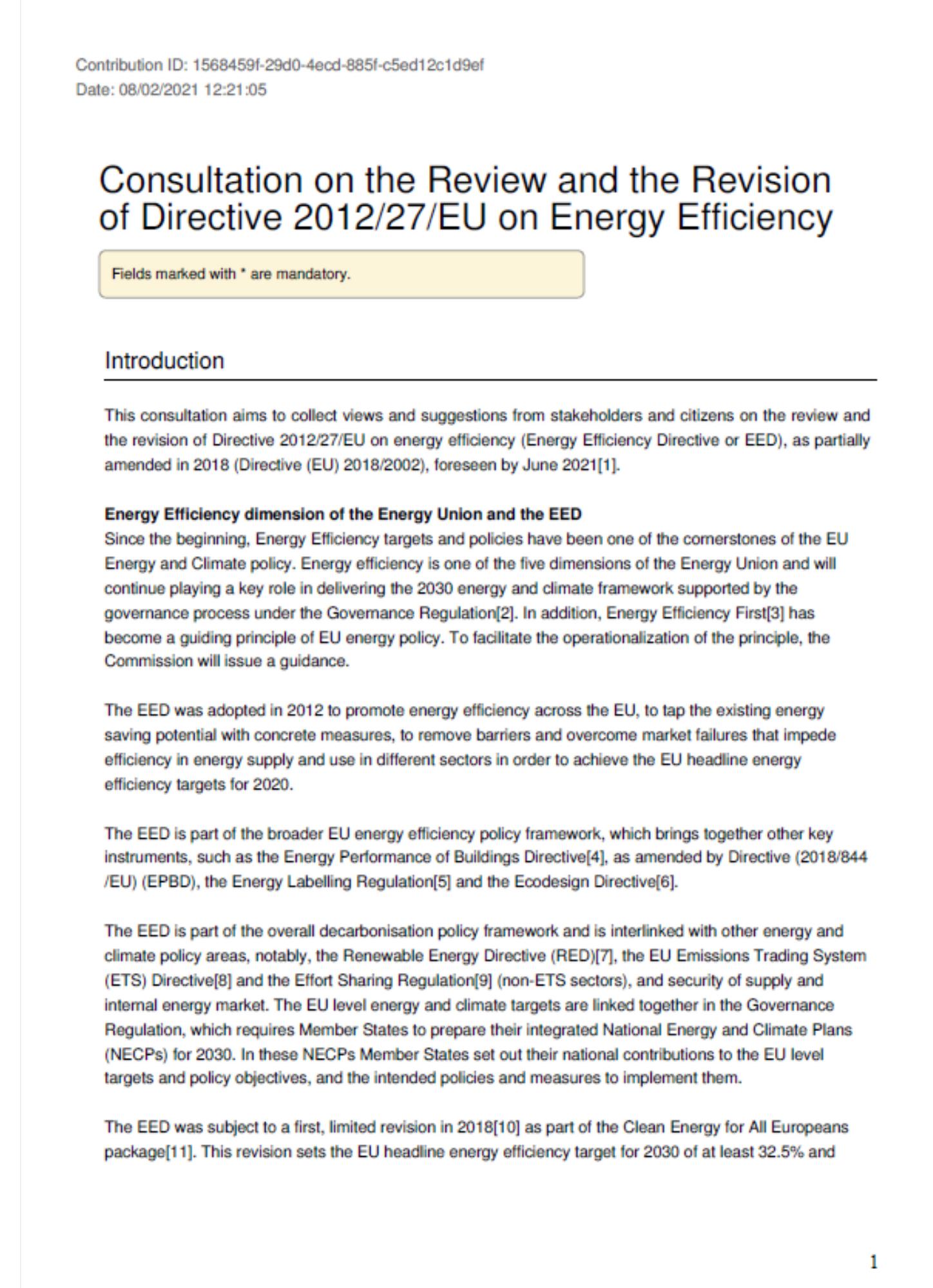 EurEau response to EED public consultation