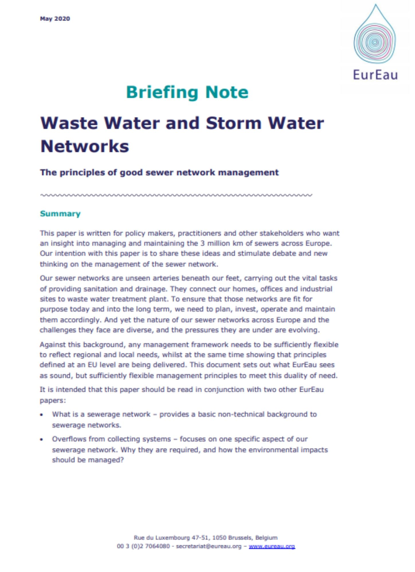 Briefing note on the management of the waste water and storm water networks