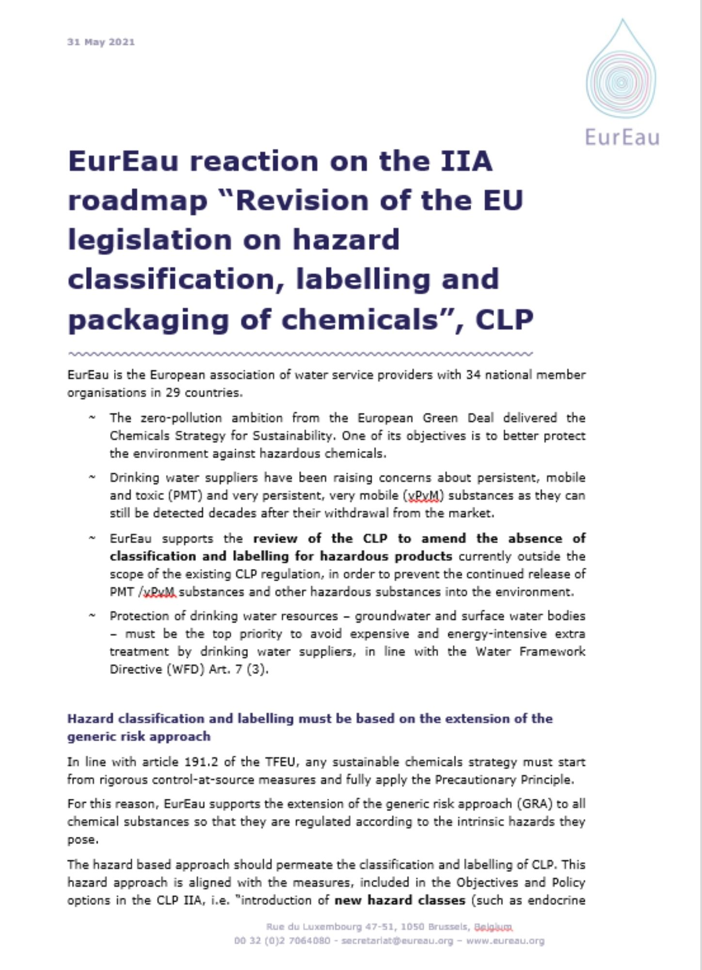 EurEau feedback on the roadmap for the revision of the Classification, Labelling and Packaging (CLP) Regulation