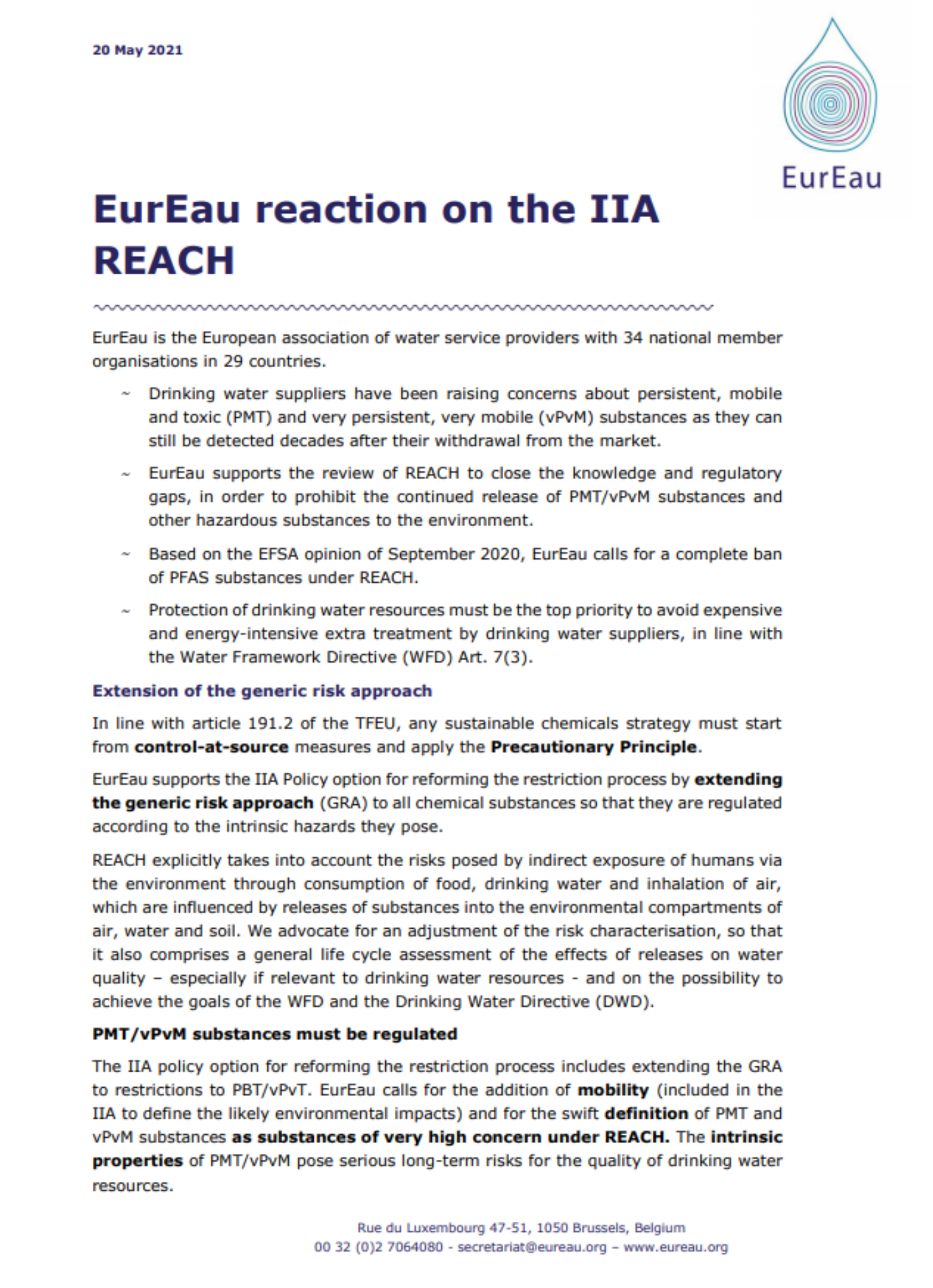 EurEau feedback on the roadmap for the revision of the REACH Regulation