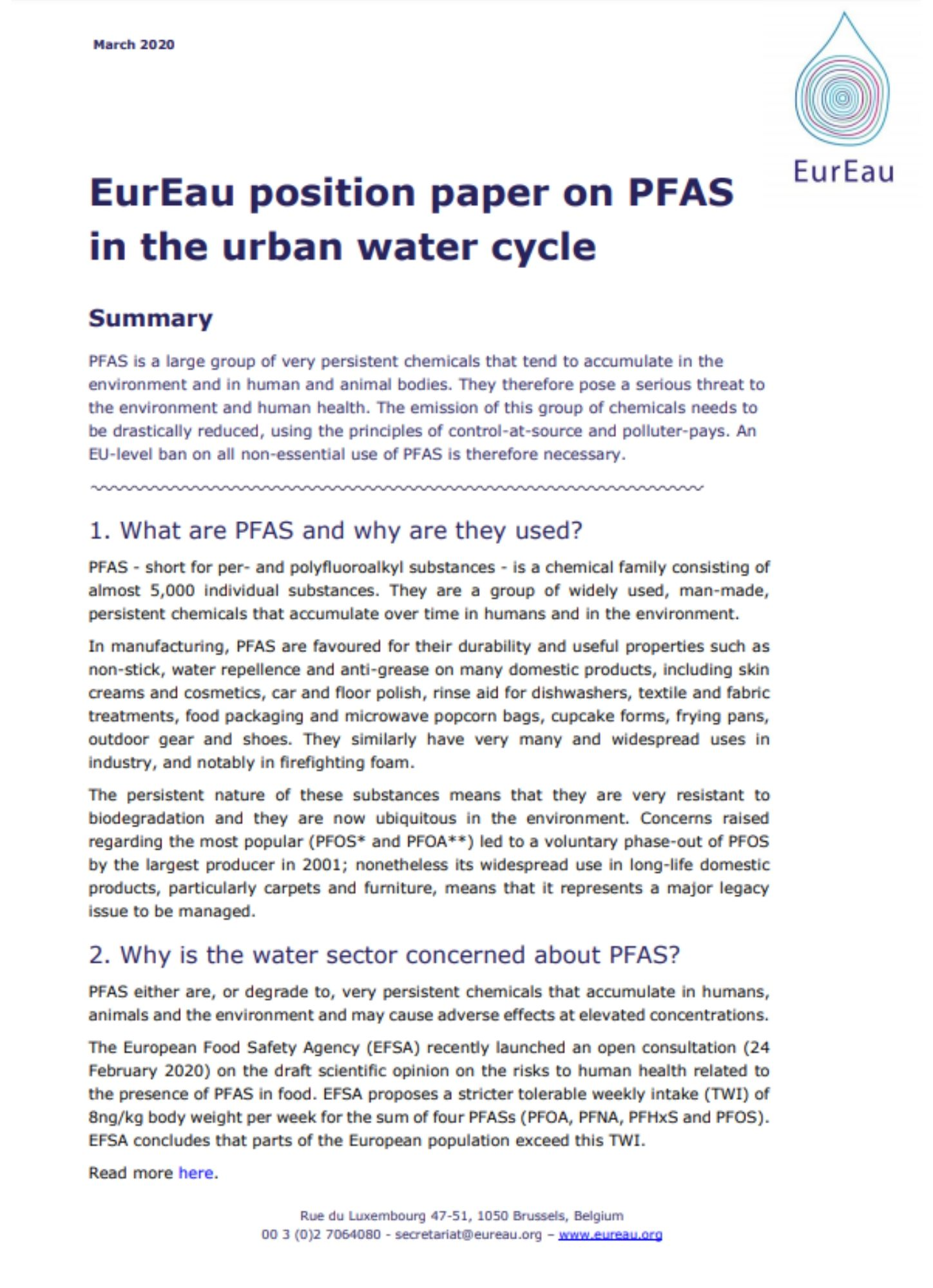 Position paper on PFAS in the urban water cycle