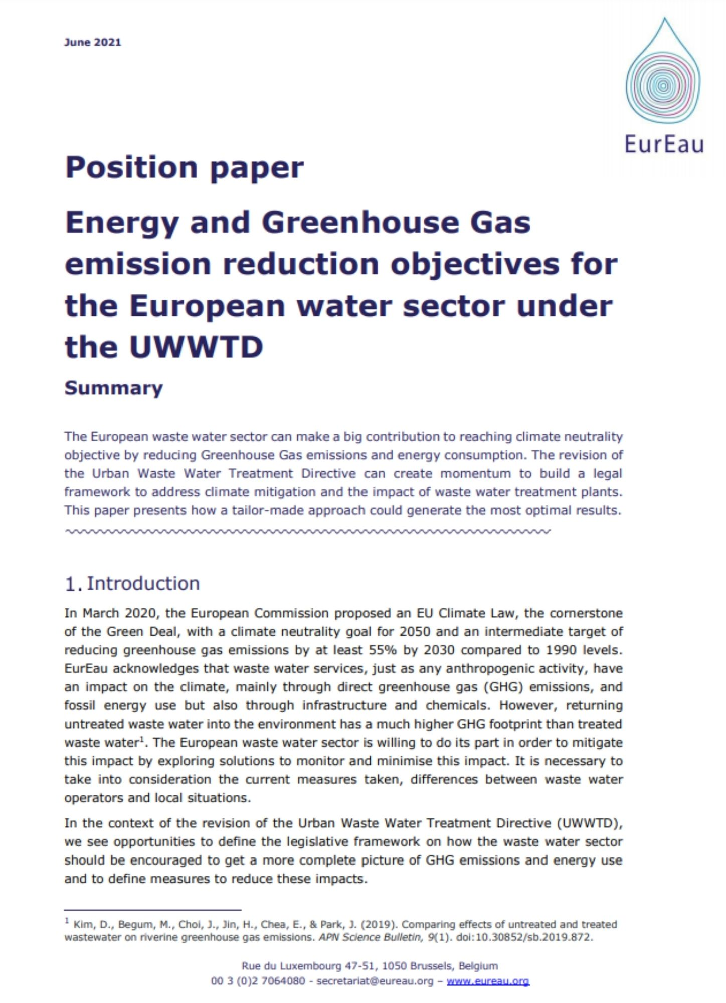 Position paper on climate mitigation in the UWWTD