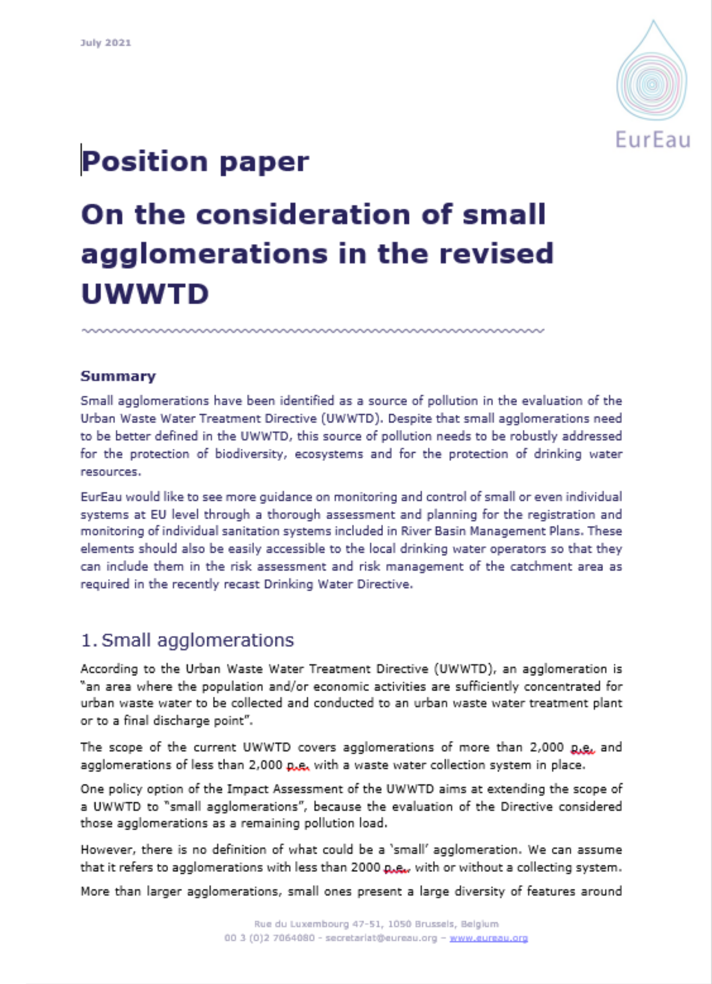Position paper on the consideration of small agglomerations in the UWWTD
