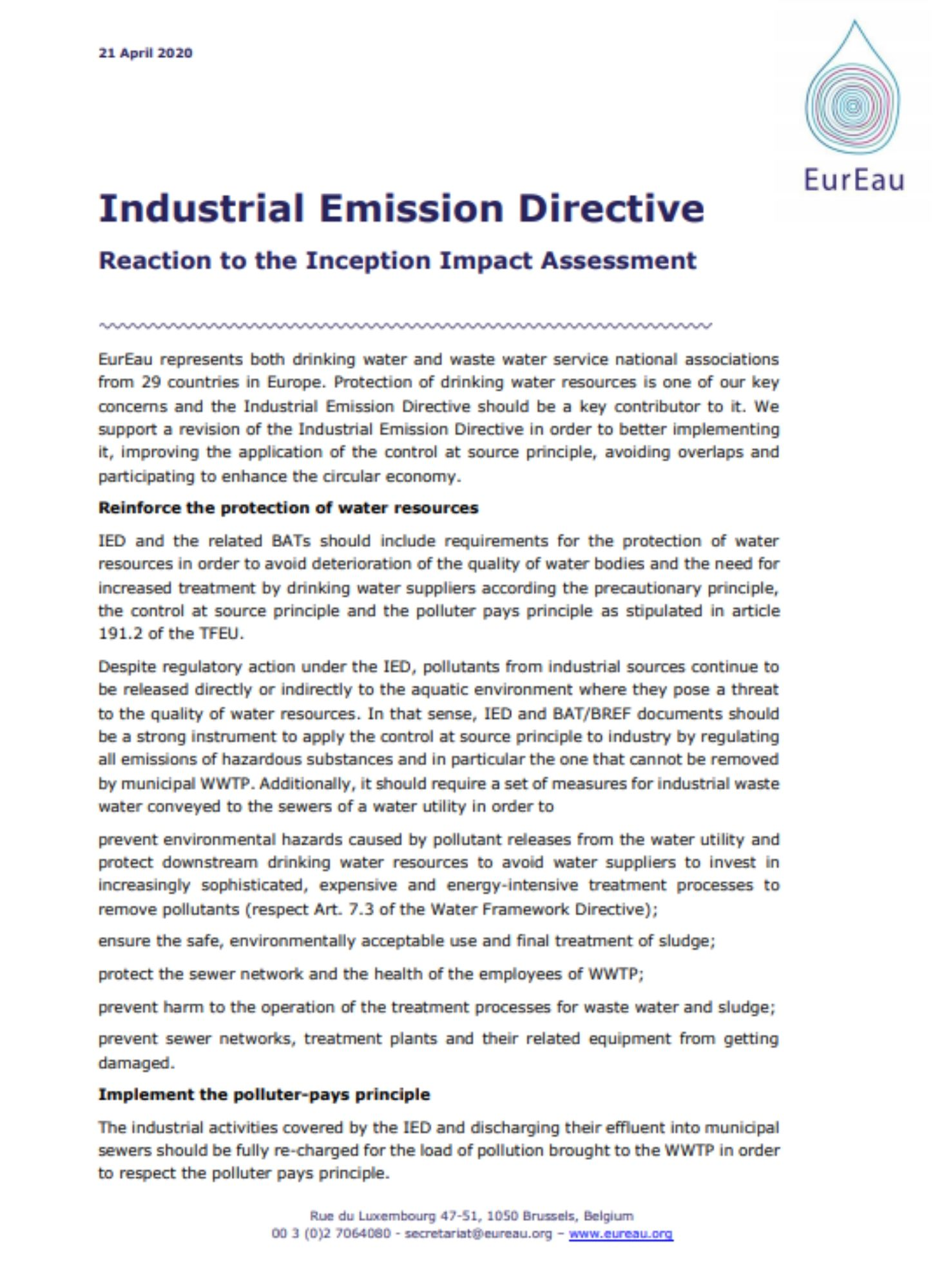 EurEau reaction to the Industrial Emissions Directive - consultation
