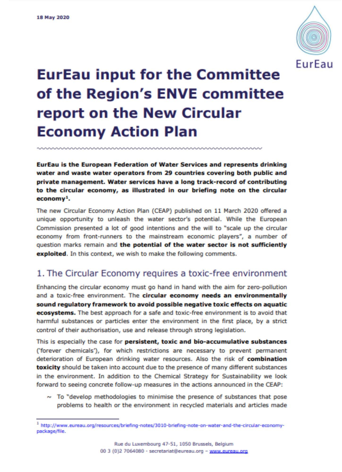 EurEau reaction to the Circular Economy Action Plan