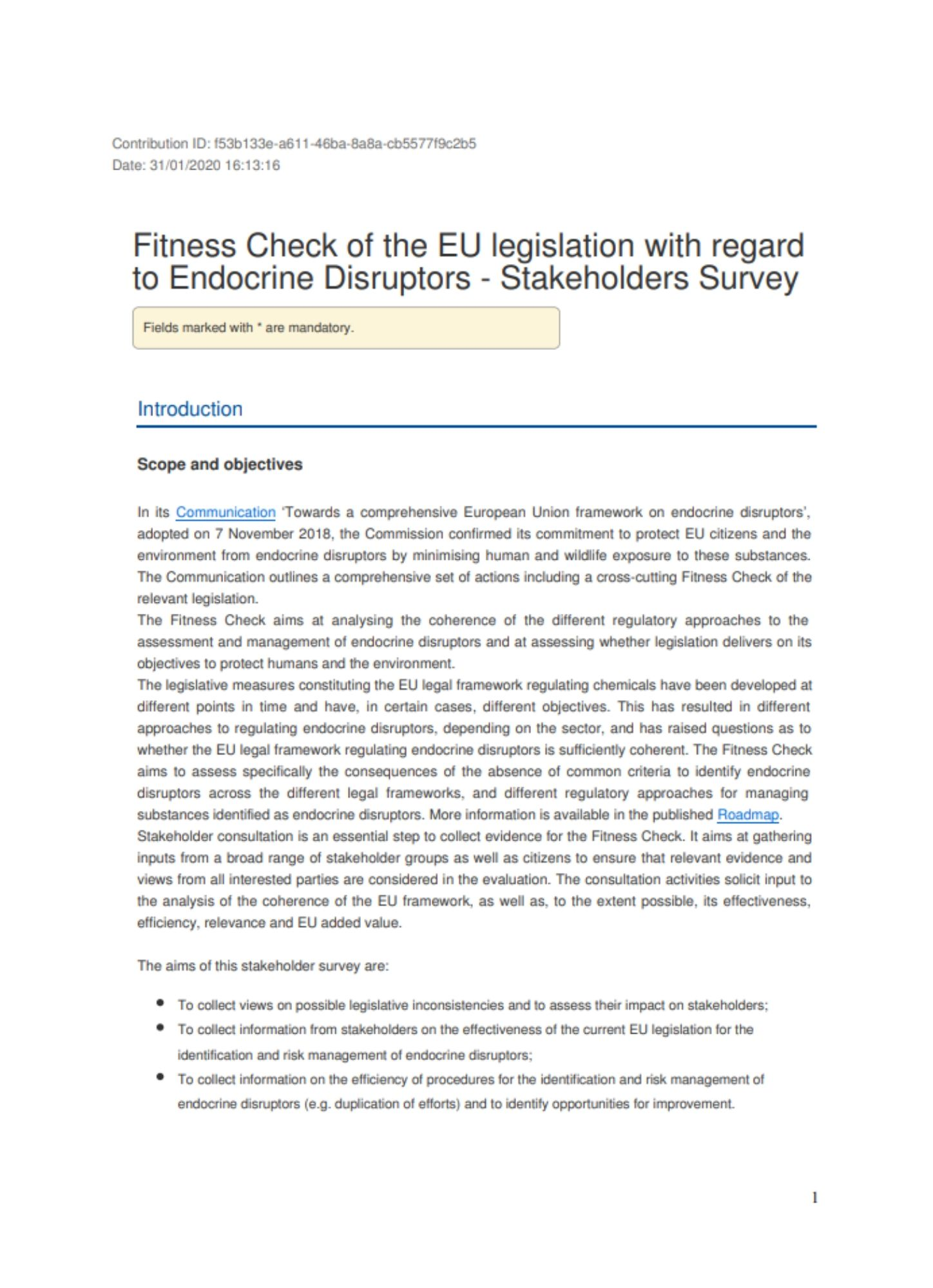 Consultation - Fitness Check on the Regulation on Endocrine Disruptors