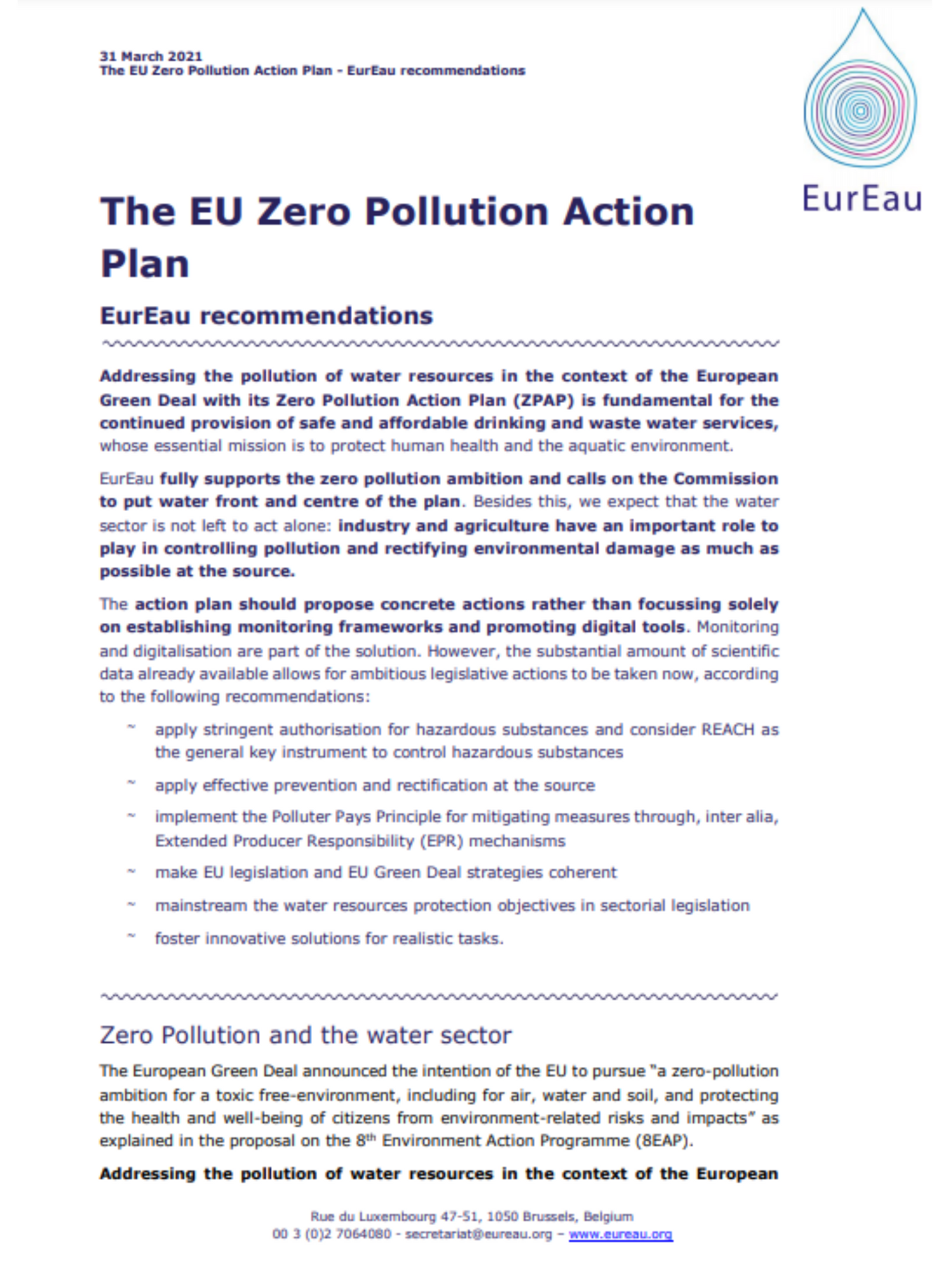 Zero Pollution Action Plan - EurEau recommendations