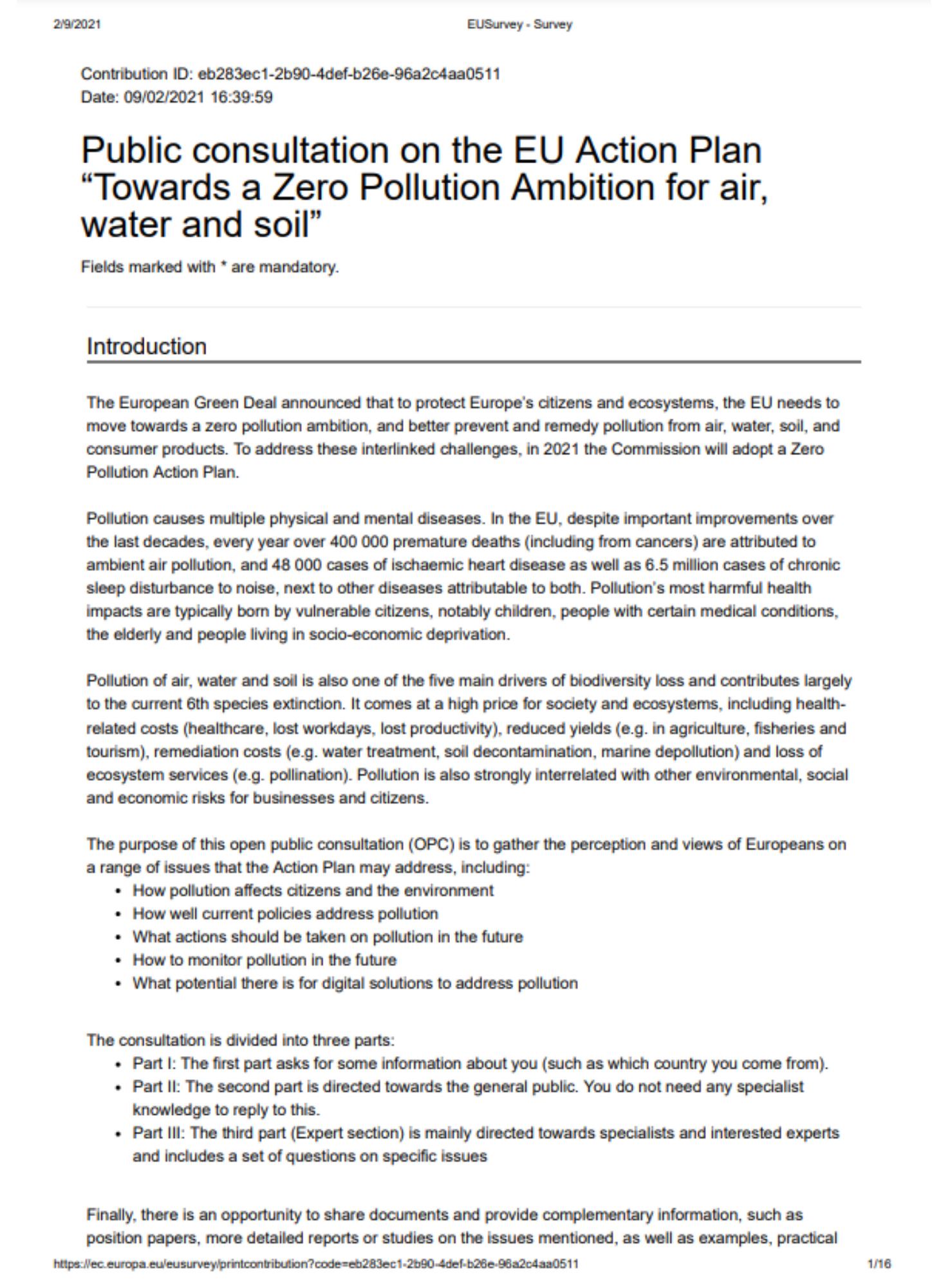 EurEau answer to the public consultation on the Zero Pollution Action Plan