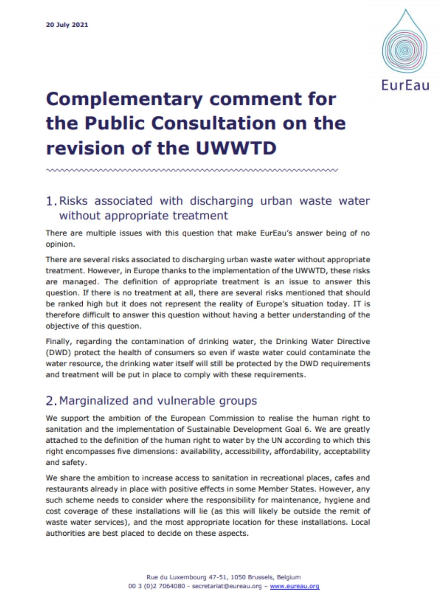 Complementary comment for the Public Consultation on the revision of the UWWTD