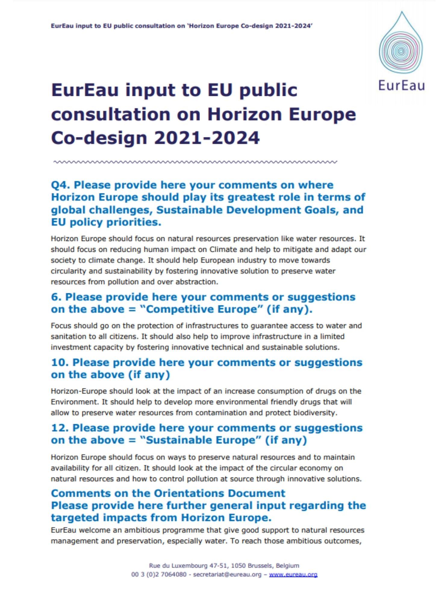Consultation Horizon Europe plan 2021 2024
