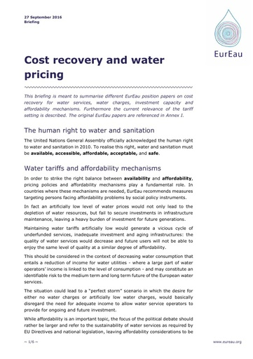 Cost recovery and water pricing September2016