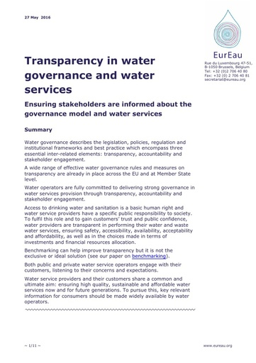 Transparency in Water Governance and Water Services
