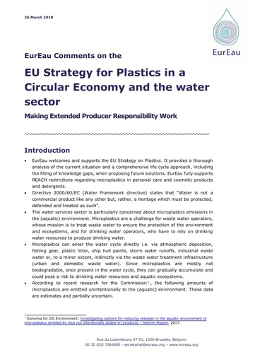 Comments on the  EU Strategy for Plastics in a Circular Economy and the water sector