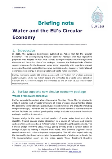 Briefing note on Water and the Circular Economy Package